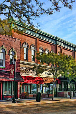 Store Fronts Painting - Wheaton Front Street Stores by Christopher Arndt