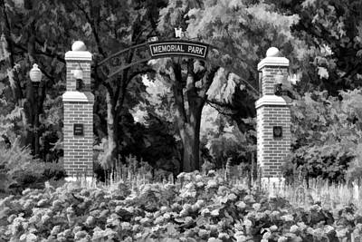 Entrance Memorial Photograph - Wheaton Memorial Park Black And White by Christopher Arndt