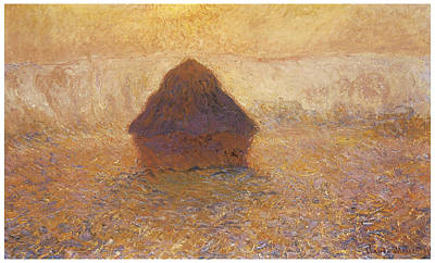 Wheatstack Sun In The Mist Print by Claude Monet