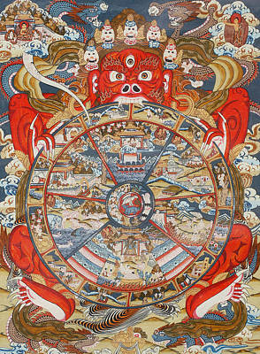 Wheel Drawing - Wheel Of Life Or Wheel Of Samsara by Unknown