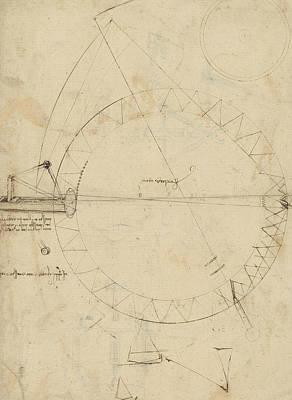 Da Vinci Reproductions Drawing - Wheel Sketch Of Drawing In Folio 956 by Leonardo Da Vinci