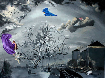 Night Angel Painting - When God Left The World by Dawnn Givens