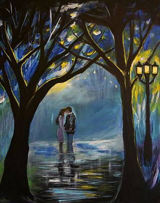 Nightime Painting - When I Fall In Love by Leslie Allen