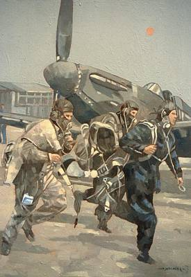 Airfield Photograph - When The Bell Rings Oil On Canvas by Peter Miller