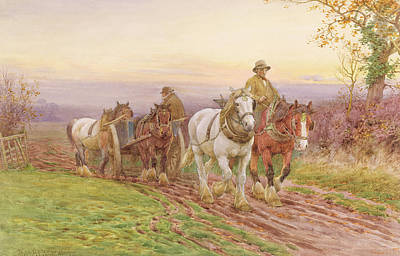 Male Horse Painting - When The Days Work Is Done by Charles James Adams
