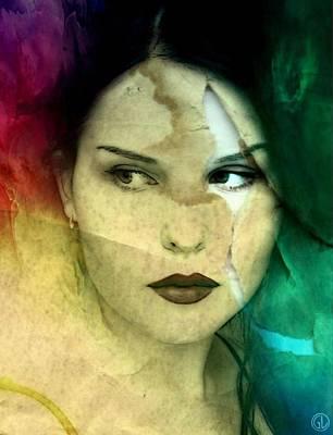 Real Face Digital Art - When The Facade Cracks by Gun Legler