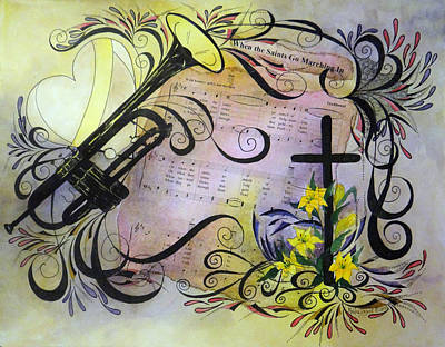 Trumpet Painting - When The Saints Go Marching In by Meldra Driscoll