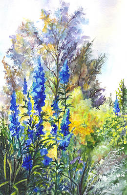Garden Scene Drawing - Where The Delphinium Blooms by Carol Wisniewski