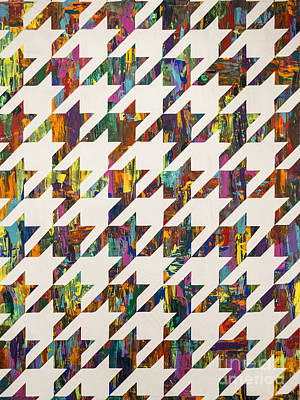 Sean C Ward Painting - Which Came First Galaga Or Houndstooth by Sean Ward