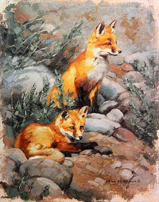 Fox Kit Painting - While Momma's Out by Mark McKenna