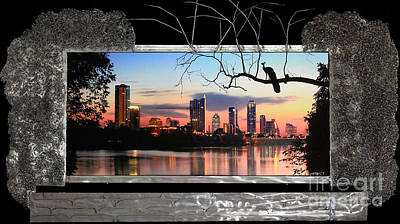 Austin Skyline Mixed Media - While You Were Waiting At The Mall by Heather Harris Art