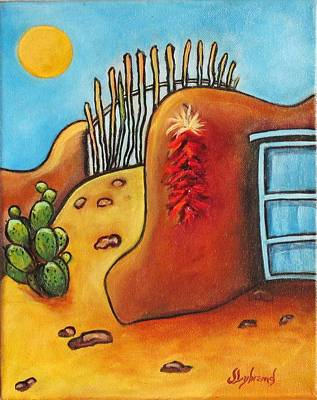 Ristra Painting - Whimsical Adobe by Judy Lybrand