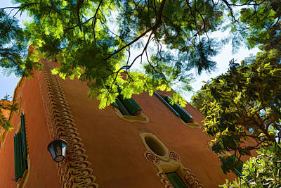 Lantern Digital Art - Whimsical Building Through The Trees - Impressions Of Barcelona by Georgia Mizuleva