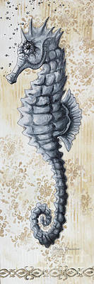 Whimsical Coastal Art Original Sea Horse Painting Sea Fantasy By Megan Original by Megan Duncanson