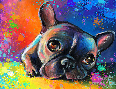 Print Card Painting - Whimsical Colorful French Bulldog  by Svetlana Novikova