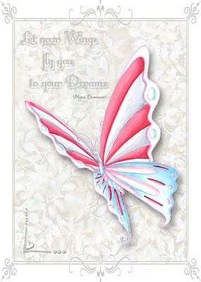 Inspire Painting - Whimsical Elegant Butterfly Inspirational Dreams Quote By Megan Duncanson by Megan Duncanson
