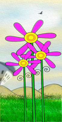 Whimsical Flowers Print by Gina Lee Manley