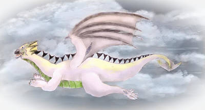 Ipad Drawing - Whimsical Flying Monster by Mary Timman