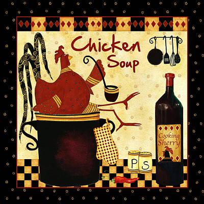 Italian Wine Painting - Chicken Soup  by Debi Hubbs