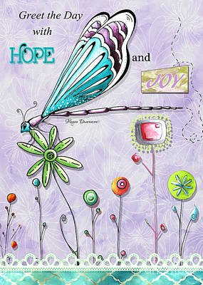 Pattern Painting - Whimsical Inspirational Dragonfly And Flower Art Inspiring Quote By Megan Duncanson by Megan Duncanson