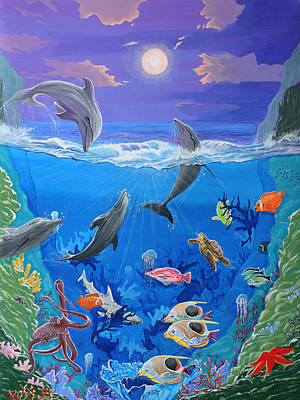 Whimsical Original Painting Undersea World Tropical Sea Life Art By Madart Print by Megan Duncanson