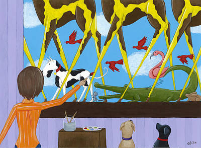Dogs Drawing - Whimsical Painting by Christy Beckwith