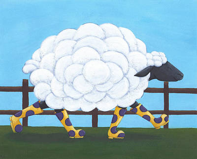 Baby Wool Painting - Whimsical Sheep Art by Christy Beckwith
