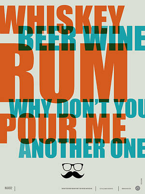 Whiskey Beer And Wine Poster Print by Naxart Studio