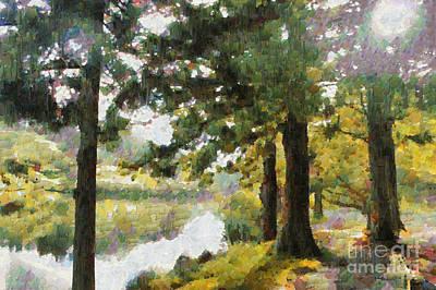 Pallet Knife Digital Art - Whisper Through The Trees by Gee Lyon