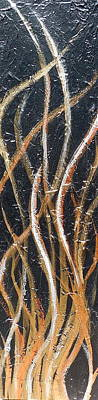 Whispering Reeds Abstract Triptych Paintings Print by Holly Anderson