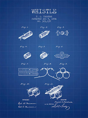Whistle Patent From 1884 - Blueprint Print by Aged Pixel
