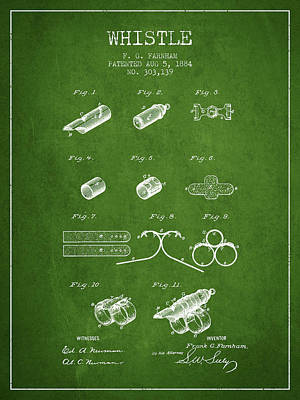 Whistle Patent From 1884 - Green Print by Aged Pixel