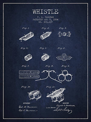 Whistle Patent From 1884 - Navy Blue Print by Aged Pixel