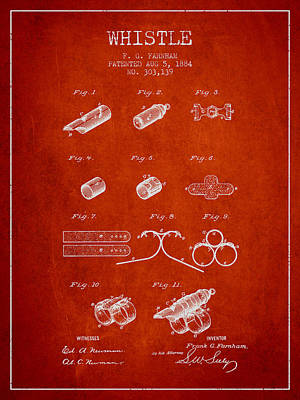 Whistle Patent From 1884 - Red Print by Aged Pixel