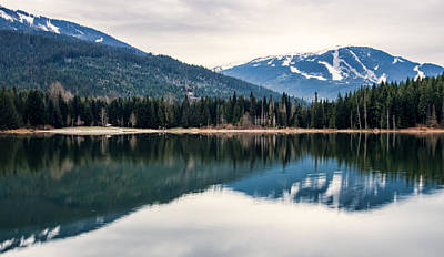 Mountain Reflection Lake Summit Mirror Photograph - Whistler Blackcomb Reflection by James Wheeler