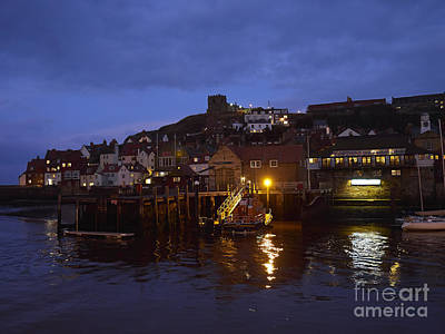 Boat Photograph - Whitby Lower Harbour And The Rnli Lifeboat Station At Night by Louise Heusinkveld