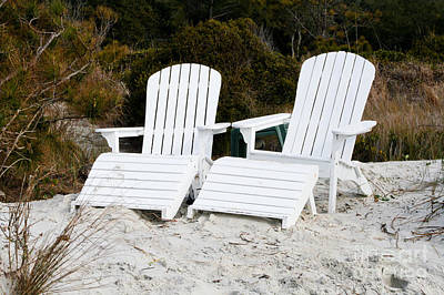 White Adirondack Chairs In The Sand Print by Thomas Marchessault