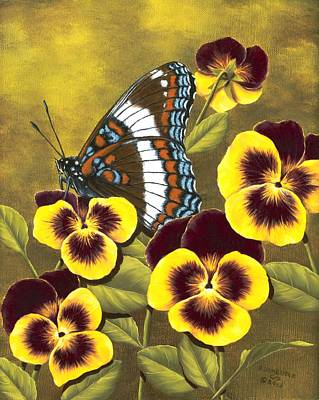 Pansy Painting - White Admiral And Pansies by Rick Bainbridge