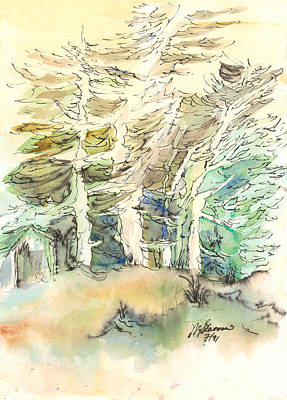 Windblown Painting - White And Green Forest by Walt Stevenson
