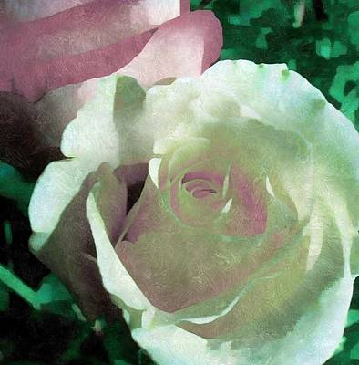 White And Pink Roses Print by Maggie Vlazny