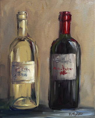 Hand Painted Wine Glass Painting - White And Red by Viktoria K Majestic