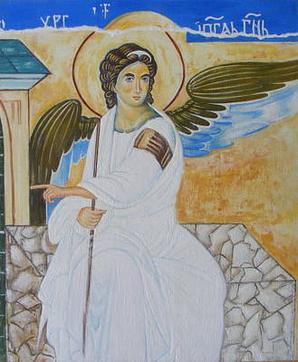 Orthodox Byzantine Icons Painting - White Angel  by Jovica Kostic