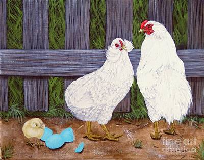 Hens And Chicks Painting - White Araucana Sop by Amanda Hukill