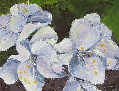 Susan L Richardson Art Painting - White Azaleas by Susan Richardson