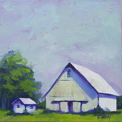 Barn Landscape Painting - White Barn by Kristin Whitney