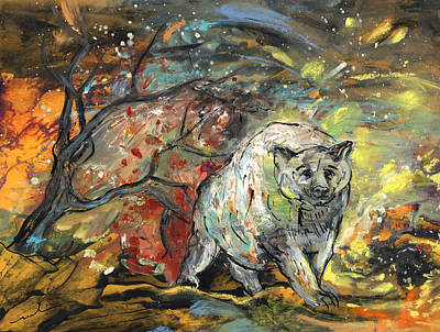 Storm Drawing - White Bear In The Storm by Miki De Goodaboom