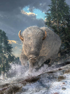 Bison Digital Art - White Bison by Daniel Eskridge