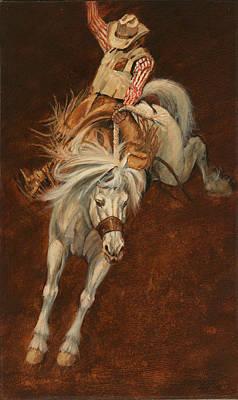 Bucking White Horse Print by Don  Langeneckert