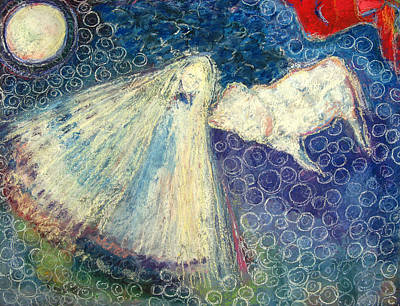 Sacred Feminine Moon Painting - White Buffalo Calf Woman by Tolere