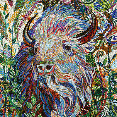 Animal Painting - White Buffalo by Erika Pochybova